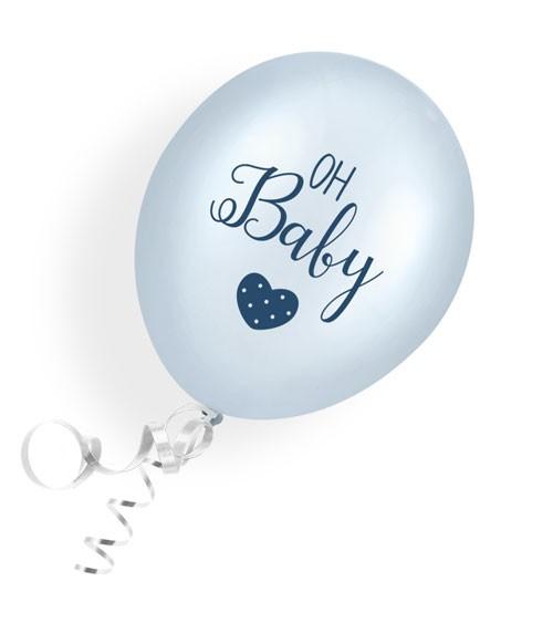 "Luftballons ""Oh Baby"" - blau - 6 Stück"