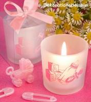 "Kerze mit Kerzenhalter ""Babyaccessoires"" - pink"