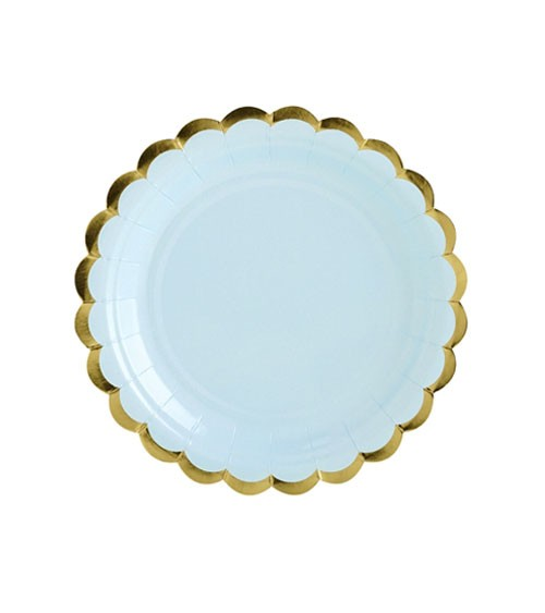 Kleine Pappteller mit Goldrand - hellblau - 6 Stück