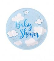 """Kleine Pappteller """"Wolken Baby Shower"""" - blau - 8 Stück"""