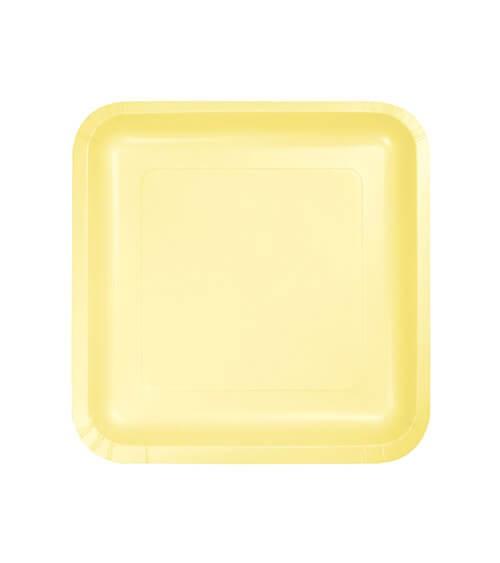Kleine eckige Pappteller - gelb - 18 Stück