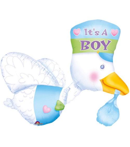 "Supershape-Folienballon ""Fliegender Storch"" - It's a Boy"