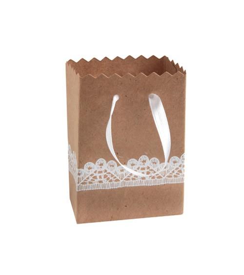 Gastgeschenkbeutel aus Kraftpapier mit Spitzen-Optik - 6 Stück