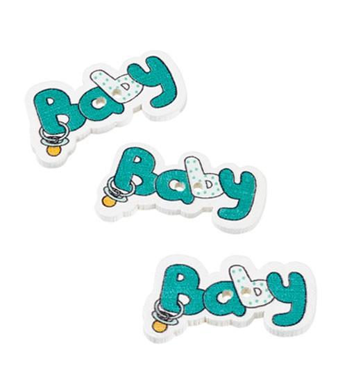 "Holzstreuteile ""Baby"" - türkisblau - 3,7 cm - 12 Stück"