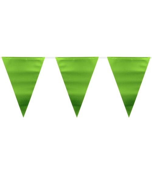 Wimpelgirlande aus Kunststoff - metallic lime green - 6 m