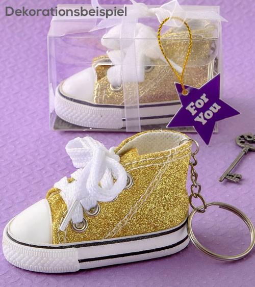 """Schlüsselanhänger aus Stoff """"Babysneaker"""" - glitter gold"""