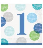 """Servietten """"1. Geburtstag - blau/pastell"""" - 16 Stück"""