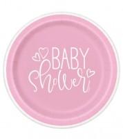 """Pappteller """"Baby Shower - rosa"""" - 8 Stück"""