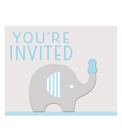 """Einladungskarten """"Kleiner Elefant - hellblau"""" - 8 Stück"""