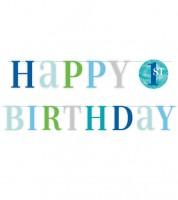 Happy 1st Birthday-Girlande - blau/pastell - 1,8 m