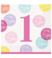 """Servietten """"1. Geburtstag - pink/pastell"""" - 16 Stück"""