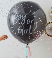 """Schwarzer Riesenballon mit Tasseln """"Boy or Girl?"""""""