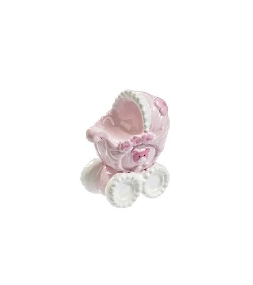 Kinderwagen aus Polyresin - rosa - 3,5 cm