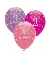 "Luftballon-Set ""1"" - rosa, pink, lavendel - 6 Stück"