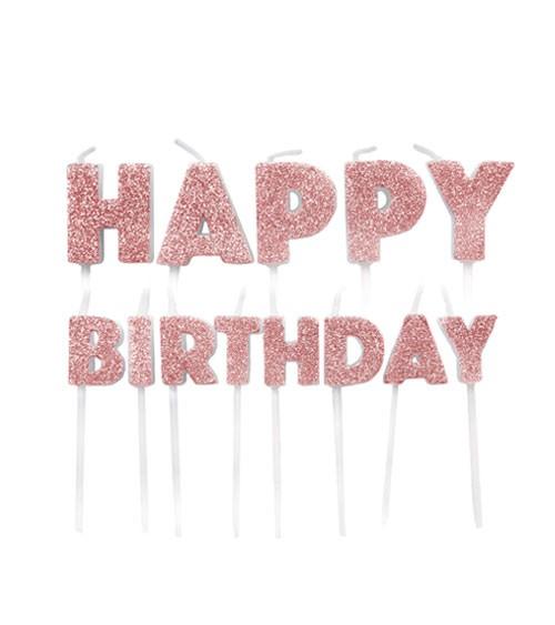 """Kuchenkerzen-Set """"Happy Birthday"""" - glitter rosegold - 13-teilig"""