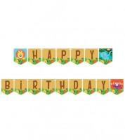 "Happy Birthday Girlande ""Dschungel Safari"" - 2,4 m"