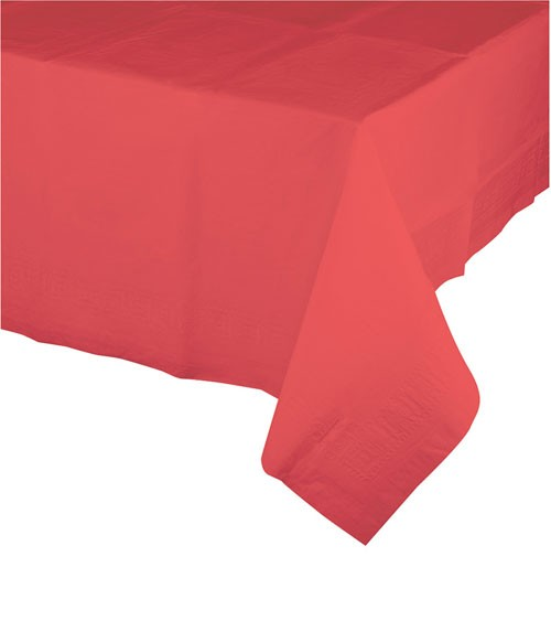 Kunststoff-Tischdecke - koralle - 137 x 274 cm