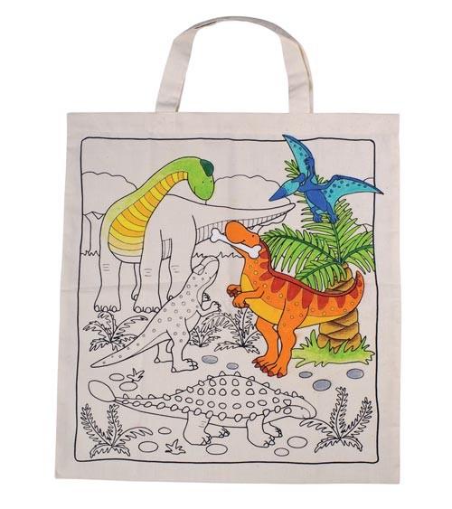 """Baumwollbeutel """"Dinosaurier"""" zum Ausmalen - 38 x 42 cm"""