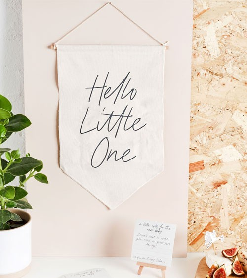 """Stoff-Wimpel """"Hello Little One"""" mit Wunschkarten - 26 x 40 cm"""