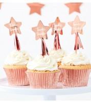 """Cupcake-Topper mit Stern """"Twinkle Twinkle"""" - rosegold - 12 Stück"""