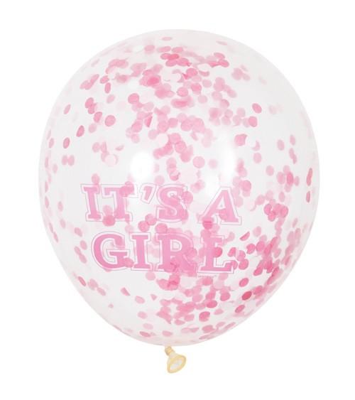 "Konfetti-Ballons ""It's a Girl"" - rosa/pink - 6 Stück"