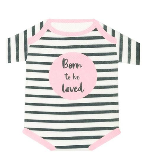 "Shape-Servietten ""Born to be loved"" - rosa - 16 Stück"
