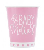 "Pappbecher ""Baby Shower - rosa"" - 8 Stück"