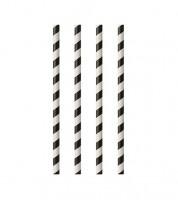 Papierstrohhalme - gestreift - schwarz/weiß - 100 Stück
