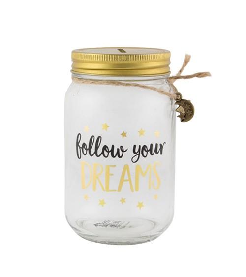 """Spardose aus Glas """"Follow your Dreams"""""""