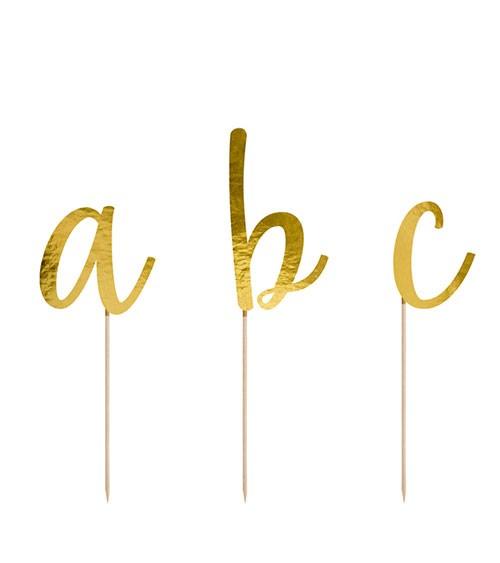 """Buchstaben-Picks aus Papier """"Alphabet"""" - gold metallic - 53-teilig"""