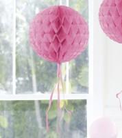 Wabenball mit Tasseln - 30 cm - rosa
