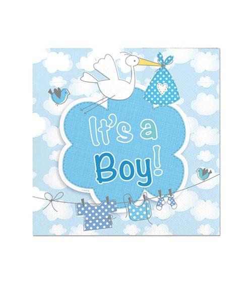 """Cocktail-Servietten mit Storch """"It's a Boy!"""" - 20 Stück"""