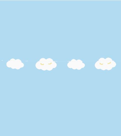 Wolken-Girlande mit Gesichtern - weiß/gold - 1,45 cm