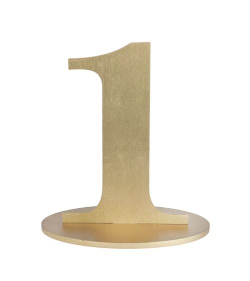 "Zahl aus Holz ""1"" - gold - 10,5 x 16 cm"