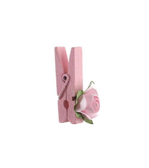 Kleine Holz-Klammern mit Rose - rosa - 4 Stück