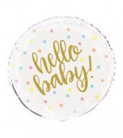 "Runder Folienballon ""Hello Baby - gold"" - 45 cm"