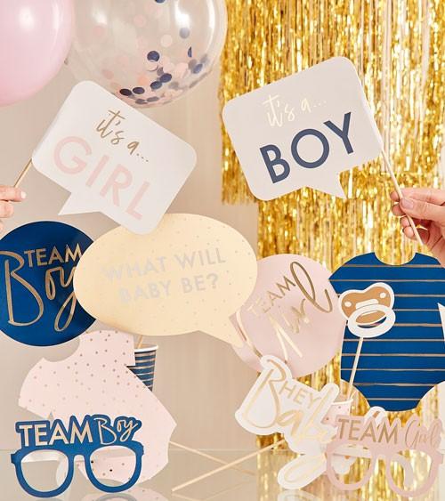Gender Reveal Photobooth Props - rosa & navy - 10-teilig