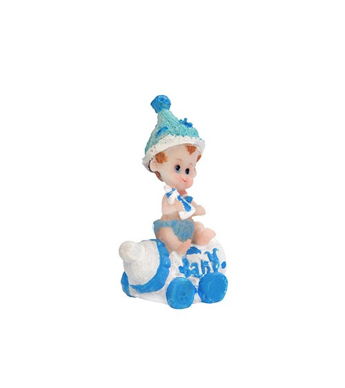 """Deko-Figur """"Baby mit Fläschchen"""" - blau"""