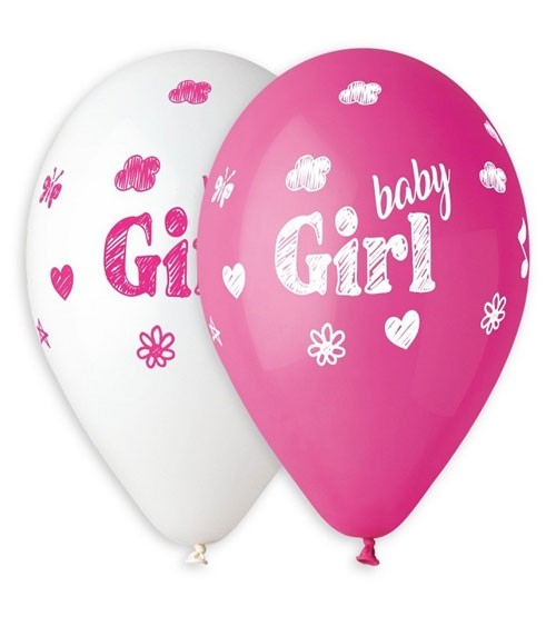"Luftballon-Set ""Baby Girl"" - pink & weiß - 5 Stück"