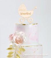 """Dein Cake-Topper """"Kinderwagen"""" aus Holz - Wunschtext"""