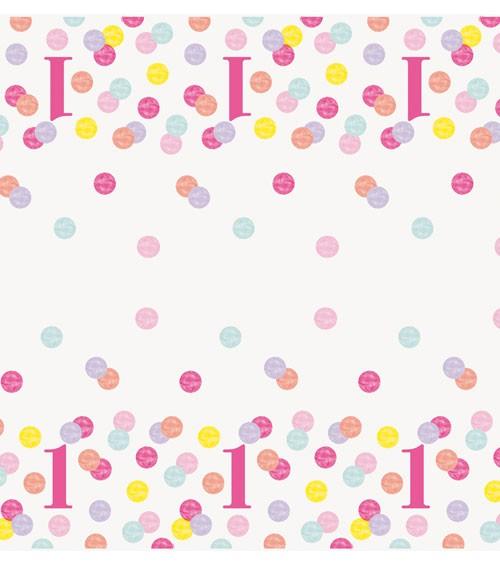 """Kunststoff-Tischdecke """"1. Geburtstag - pink/pastell"""" - 137 x 213 cm"""