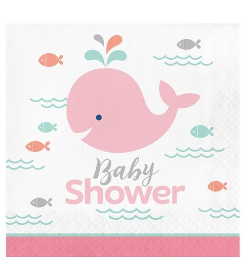 """Servietten """"Baby Wal - Rosa"""" - Babyshower - 16 Stück"""
