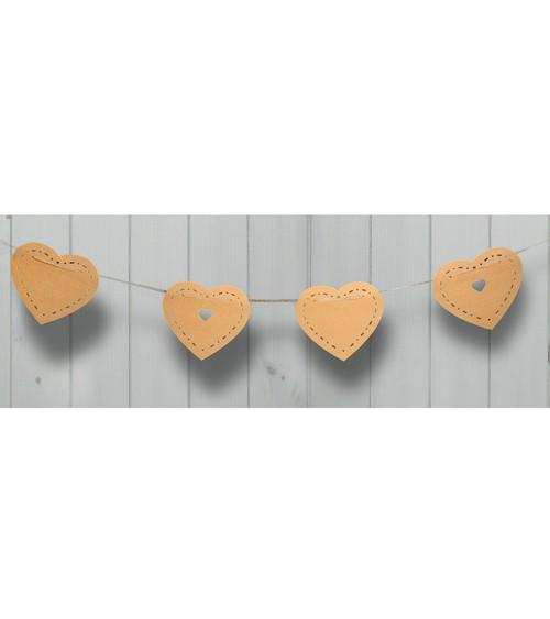 Herz-Girlande aus Pappe - Kraftpapier - 3,5 m