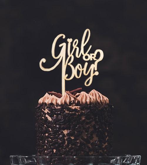 "Cake-Topper ""Girl or Boy - Script"" aus Holz"