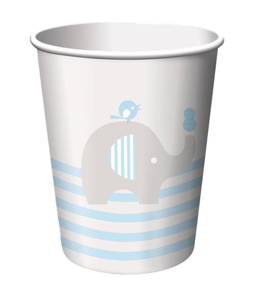 """Pappbecher """"Kleiner Elefant - hellblau"""" - 8 Stück"""