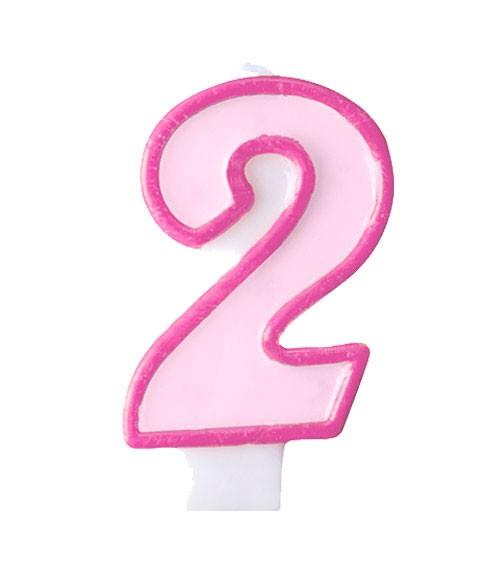 """Geburtstagskerze """"2"""" - rosa/pink"""