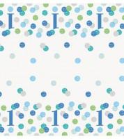"""Kunststoff-Tischdecke """"1. Geburtstag - blau/pastell"""" - 137 x 213 cm"""