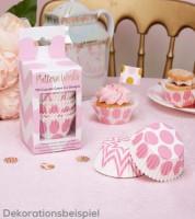 """Cupcake-Förmchen """"Chevron & Dots"""" - rosa - 100 Stück"""