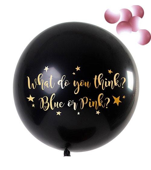 """Gender Reveal Riesen-Ballon """"What do you think"""" - Konfetti rosa - 90 cm"""