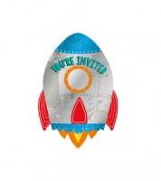 """Einladungskarten """"Rakete"""" - 8 Stück"""